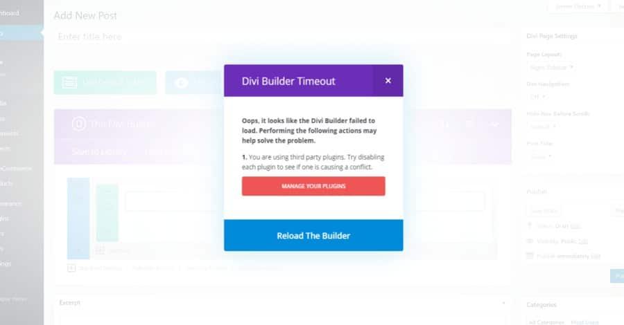 Napraw błąd limitu czasu Divi Builder
